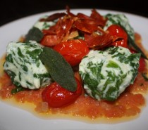 Recipe: Spinach and ricotta gnudi with a tomato, sage and butter sauce, crispy prosciutto and sage, and roasted cherry tomatoes
