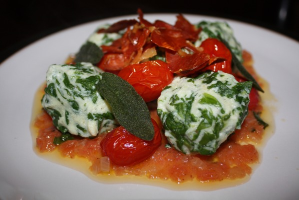 Recipe: Spinach and ricotta gnudi with a tomato, sage and butter sauce ...