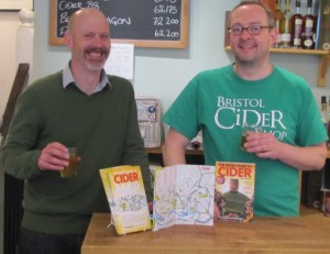 James Russell, author of The Naked Guide to Cider (left) and Peter Snowman of Bristol Cider Shop