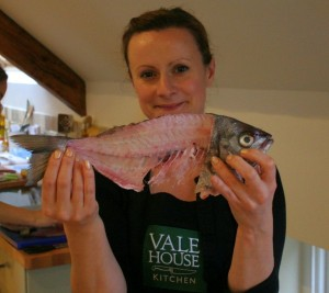 Kathie with her filleted fish