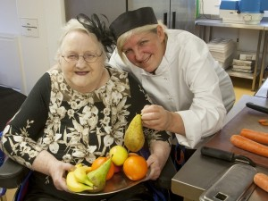 Milestones Trust resident Dorothy Jacobs (left) and cook Pauline Vernon in the kitchen.