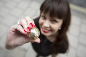 Katsiaryna Mosaferi with her golden Dough Ball. Image credit: PizzaExpress.