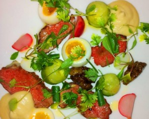 Lamb, Quails Eggs, Pickled Vegetable Salad