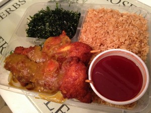 Red Hot Goodies - satay, seaweed, rice