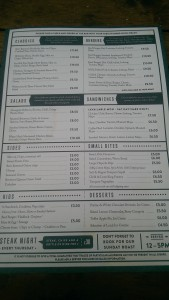The Shakespeare, Redland - Menu