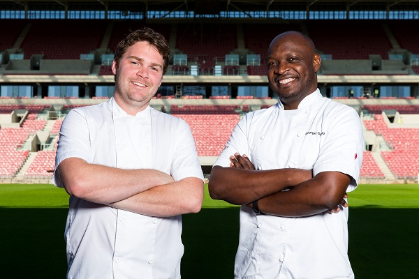 Josh Eggleton and Bristol Sport's executive head chef George Opondo