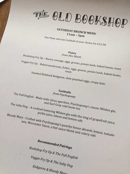 The Old Bookshop - Brunch Menu