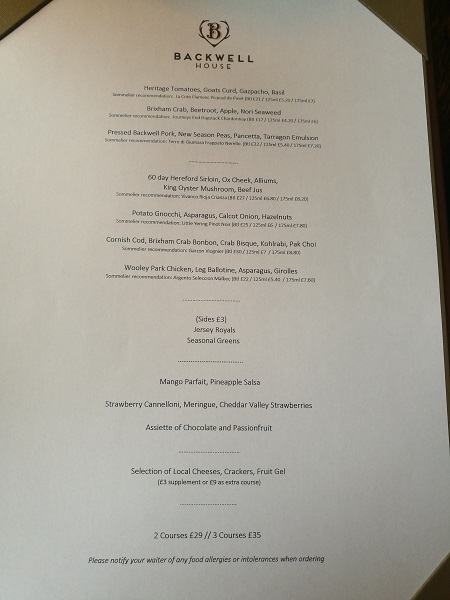 Backwell House - Menu