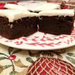 Christmas pudding brownies with sherry cream cheese frosting