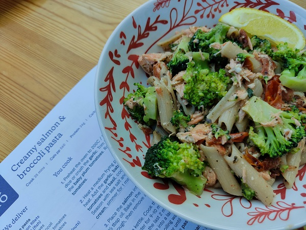 Mindful Chef - Creamy salmon and broccoli pasta - cooked