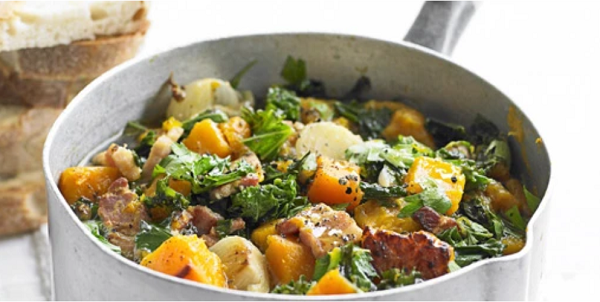 Kale, pumpkin and bacon stew - Olive Magazine