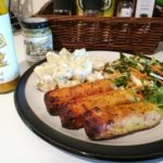 Sausages with Tracklements Sweet Mustard Ketchup